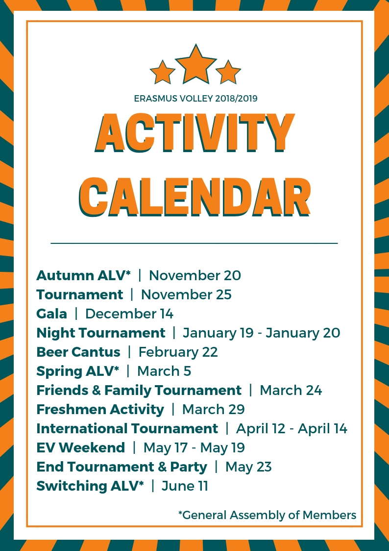 Activity Calendar Erasmus Volley 2018-2019